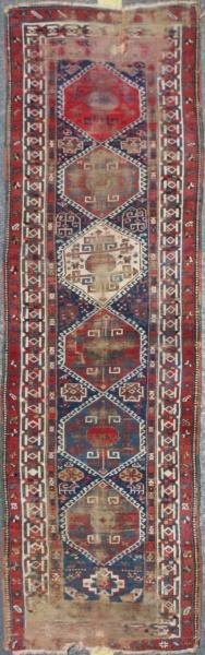 Antique Caucasian Kazak Carpet Runner F1503
