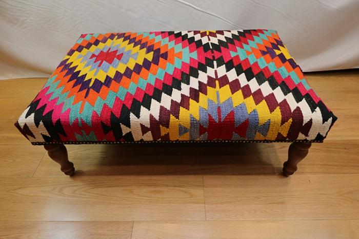 Large Kilim Ottoman Stool Tables Kilim Footstools