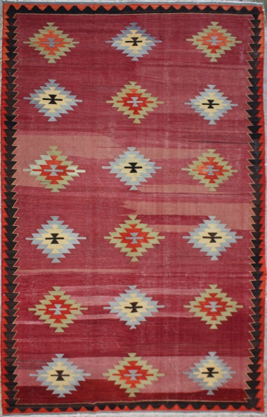 R6356 Vintage Turkish Afyon Kilim Rug