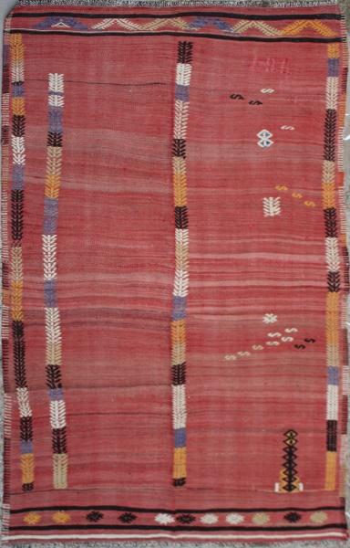 R6516 Vintage Turkish Fethiye Cicim Embroidered Wool Rug