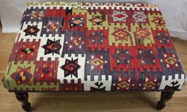 Anatolian Kilim Ottoman Stool Table R5952