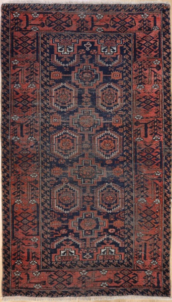 R7444 Antique Baluch Persian Rug