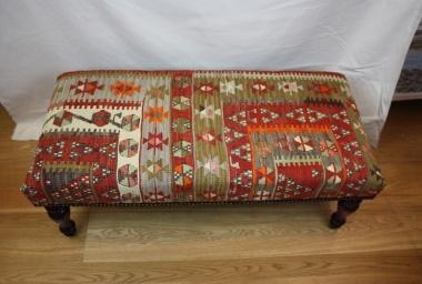R7602 Antique Bench Kilim Stool