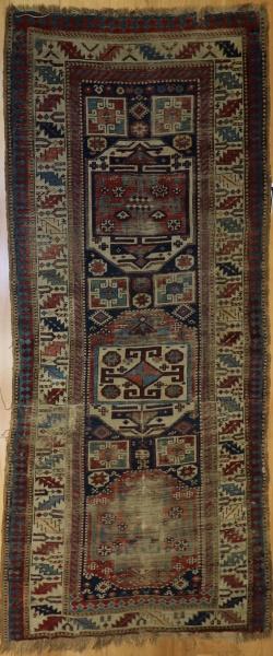R7231 Antique Caucasian Kazak Carpet Runner