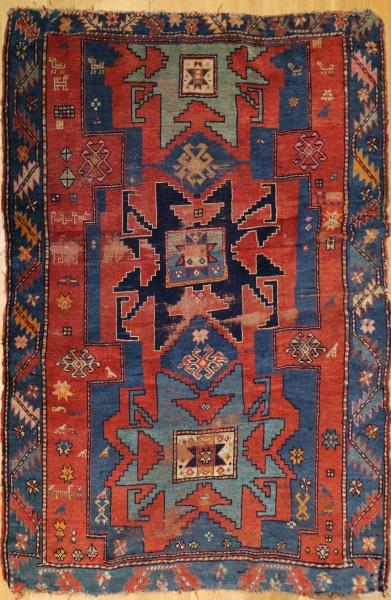 R8376 Antique Caucasian Kazak Rug