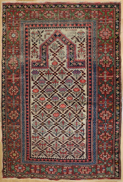 R7305 Antique Caucasian Marasali Prayer Rug