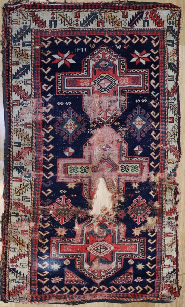 R1443 Antique Caucasian Shirvan Rug