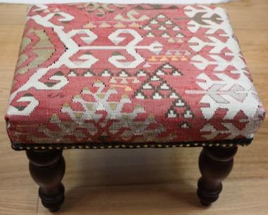 R7744 Antique Handmade Kilim Footstool uk