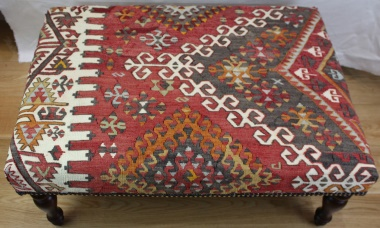 Antique Kilim Ottoman Coffee Table R7449