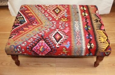Antique Kilim Ottoman Stool R5970