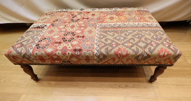 R4735 Antique Kilim Ottoman Stool Table