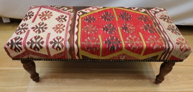 R7733 Antique Turkish Bench Kilim Stools