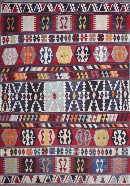 R7367 Antique Turkish Karakecili Kilim Rug
