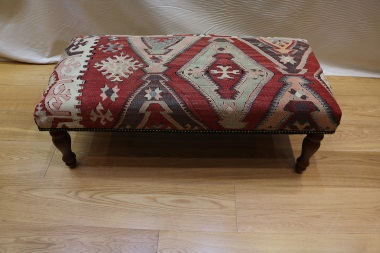 Antique Turkish Kilim Bench Stool R4018