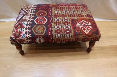 R7597 Antique Turkish Kilim Ottoman Stool Table