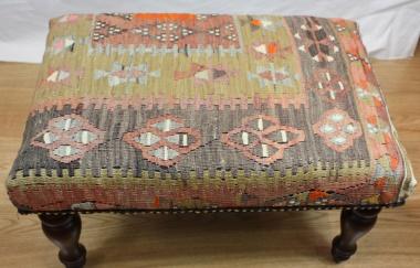 R7737 Antique Turkish Kilim Stool on Rug Store