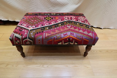 R7594 Antique Turkish Kilim Table Ottoman