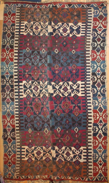 Antique Turkish Konya Kilim Rug R7804