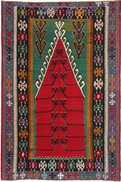 R7612 Antique Turkish Konya Obruk Kilim Rug