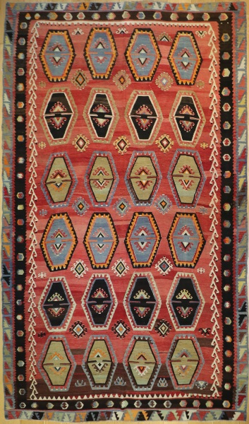 R5556 Antique Turkish Sivas Kilim Rug