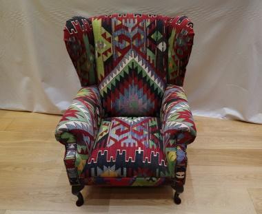 R9332 Antique Wing Kilim Chair