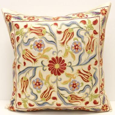 C17 Silk Suzani Pillow Cover