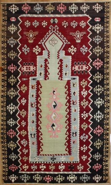 R8068 Beautiful Vintage Flat Weave Rug