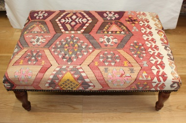 R7597 Hand Woven Antique Turkish Kilim Ottoman Stool Table