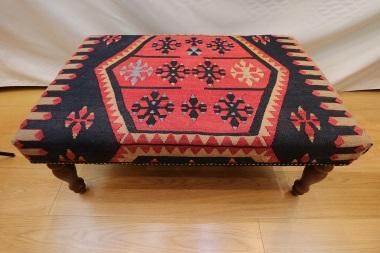 R7595 Handmade Turkish Kilim Coffee Table Ottoman