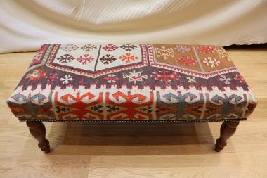 R7592 Handmade Vintage Kilim Bench Covered Stool