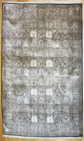 the hand-made wool and silk mat the