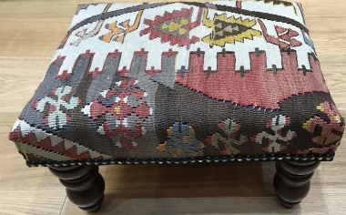 Kilim covered footstool for sale on Rug Store R7741
