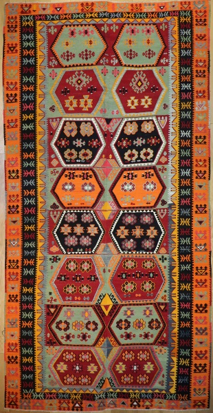 R8744 Large Antique Turkish Kilim Rug