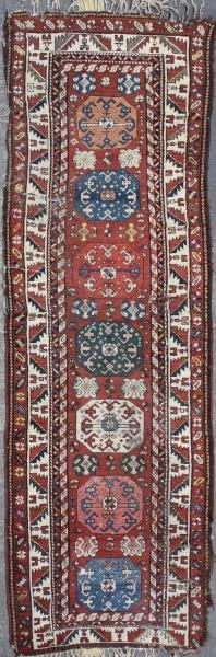 R1498 Antique Caucasian Carpet Rug Runner
