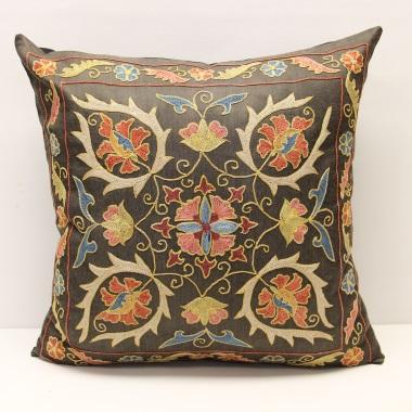 C37 Silk Suzani Cushion Pillow Cover