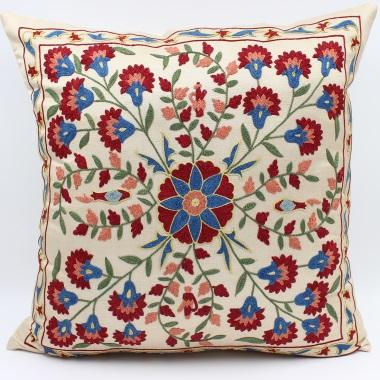 C73 Silk Suzani Pillow Cover