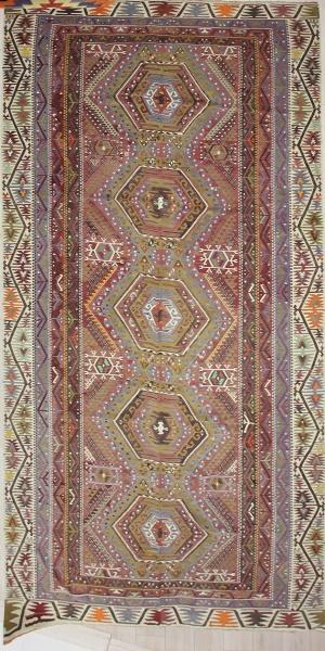 R7487 Turkish Antique Kayseri Kilim Rugs
