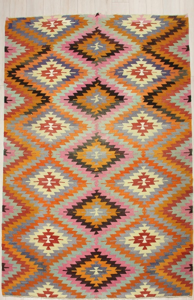 R6844 Vintage Afyon Kilim Rug