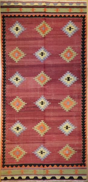 R4325 Vintage Afyon Turkish Kilim Rug