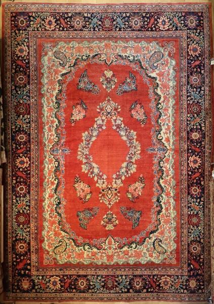 R9384 Vintage Sarouk Persian Carpet