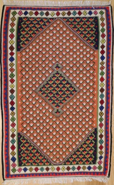 R9402 Vintage Senneh Persian Kilim Rug