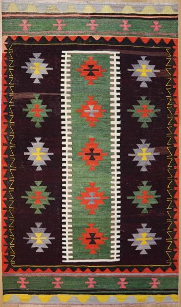 R7845 Vintage Turkish Denizli Kilim Rug