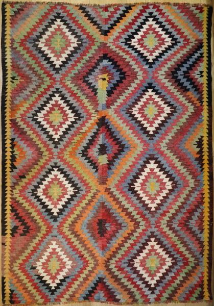 R8018 Vintage Turkish Denizli Kilim Rug