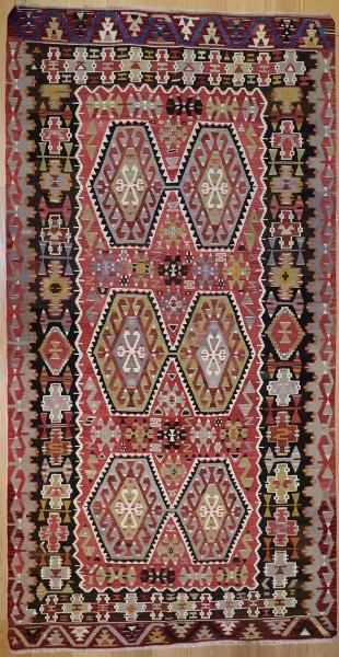 R7474 Vintage Turkish Esme Kilim Rug
