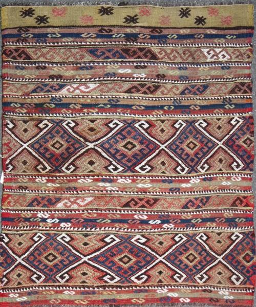 Vintage Turkish Fetiye Kilim Cicim Rug R7513