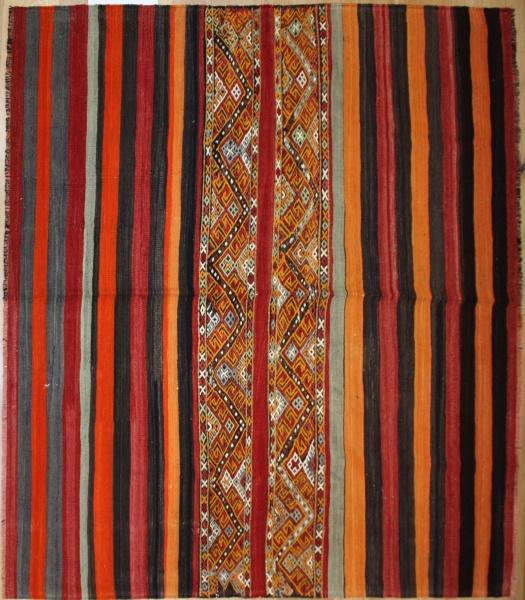 Vintage Turkish Sivas Kilim Cicim Rug R8023