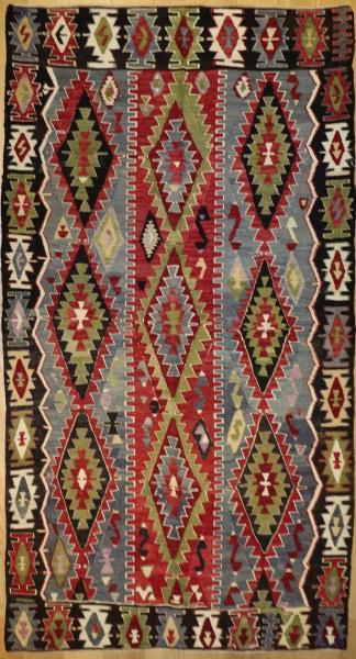 R8507 Vintage Turkish Kilim Rug