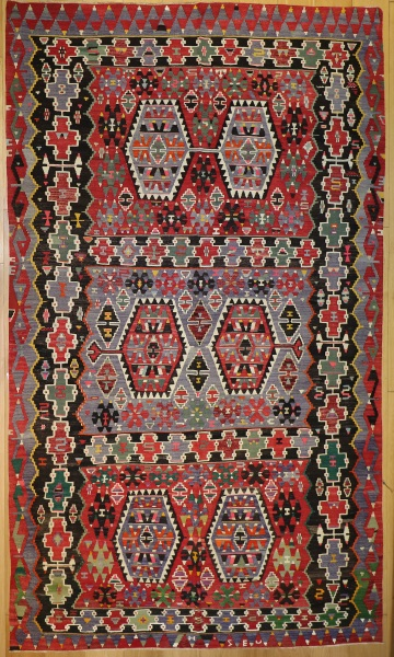R8755 Vintage Turkish Kilim Rug