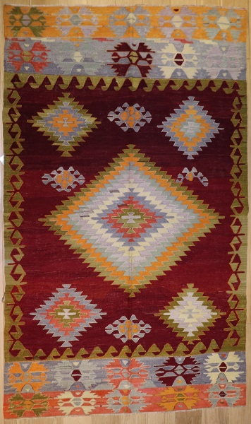 R8756 Vintage Turkish Kilim Rug