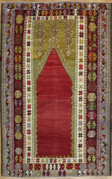 R7862 Vintage Turkish Konya Kilim Rug